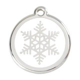 Red Dingo Stainless Steel & Enamel Snowflake Dog ID Tag
