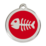 Red Dingo Stainless Steel & Enamel Fish Bone Pet ID Tag