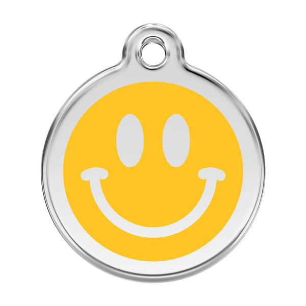 Red Dingo Stainless Steel & Enamel Smiley Face Dog ID Tag