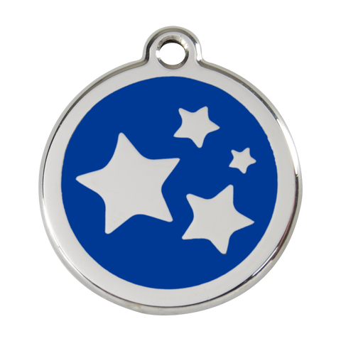Red Dingo Stainless Steel & Enamel Stars Dog ID Tag