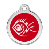 Red Dingo Stainless Steel & Enamel Tribal Fish Dog ID Tag