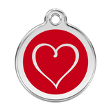 Red Dingo Stainless Steel & Enamel Tribal Heart Dog ID Tag