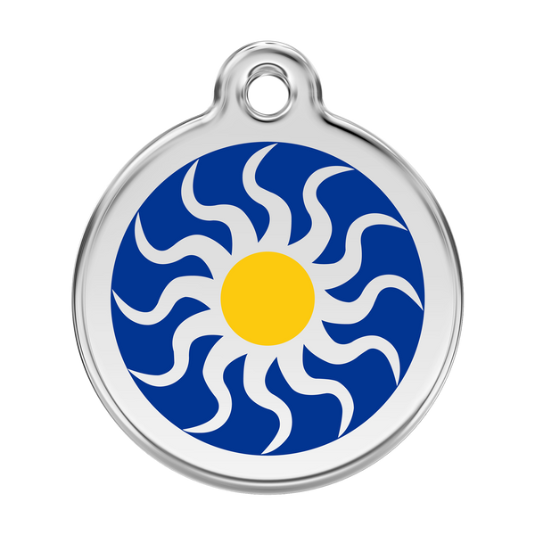 Red Dingo Stainless Steel & Enamel Tribal Sun Dog ID Tag