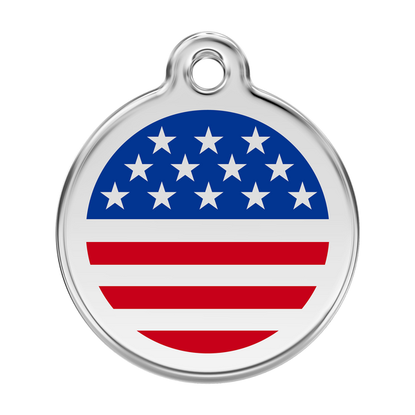 Red Dingo Stainless Steel & Enamel Stars & Stripes Dog ID Tag