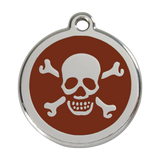 Red Dingo Stainless Steel & Enamel Skull & Crossbones Dog ID Tag