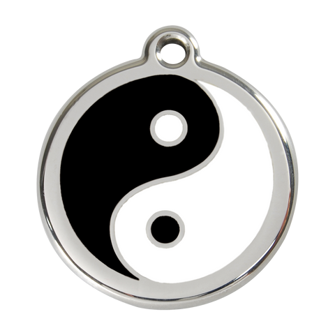 Red Dingo Stainless Steel & Enamel Yin & Yang Dog ID Tag