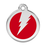 Red Dingo Stainless Steel & Enamel Flash Dog ID Tag
