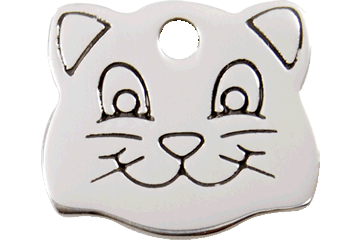 Red Dingo Stainless Steel Cat Face Shaped Cat ID Tag