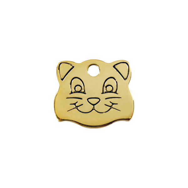 Red Dingo Brass Cat Face Shaped Cat ID Tag