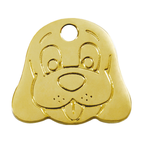 Red Dingo Brass Dog ID Tag - Dog Face