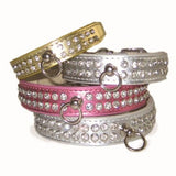Celebrity Bling Rhinestone Studded Dog Collar - Silver