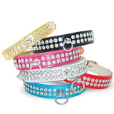 Celebrity Bling Rhinestone Studded Dog Collar - Red