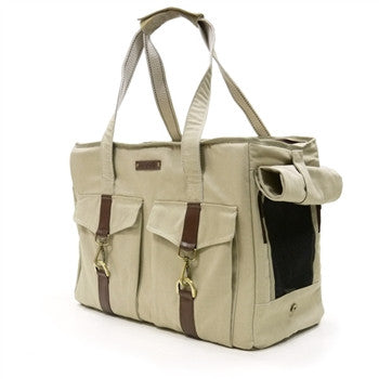 Buckle Tote Dog Carrier - Beige
