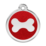 Red Dingo Stainless Steel & Glitter Enamel Bone Dog Tag - Red