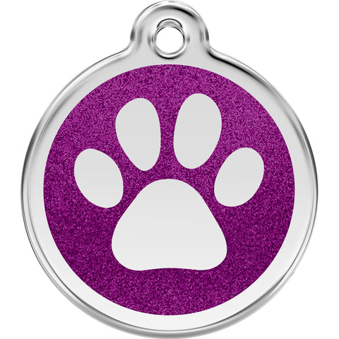 Red Dingo Stainless Steel & Glitter Enamel Paw Prints Dog Tag
