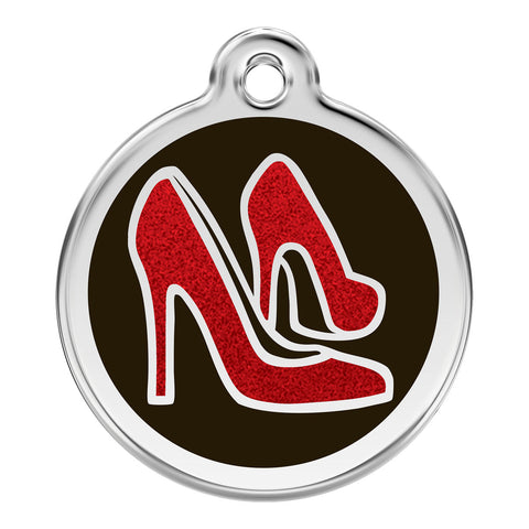 Red Dingo Stainless Steel & Glitter Enamel Red High Heels Dog ID Tag