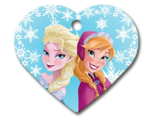Frozen Anna & Elsa Custom Engraved Dog ID Tag - Pink Heart