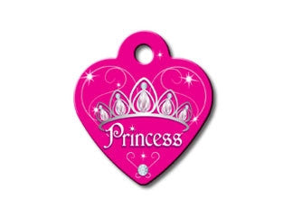 Pink Princess Tiara Dog ID Tag - Small