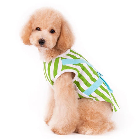 Backpack Tank Top For Dogs - Green & White Stripes