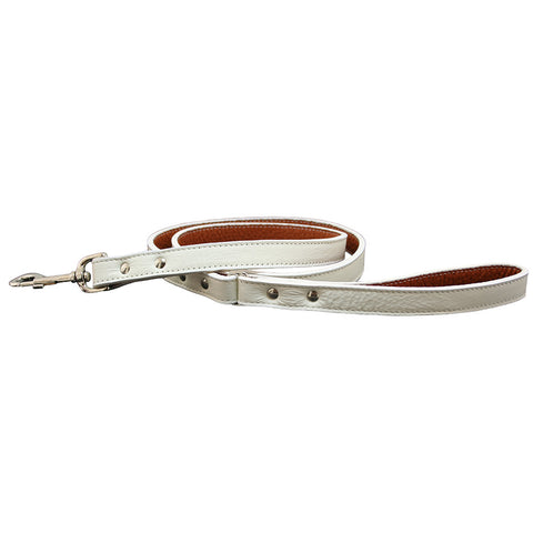 Italian Leather Dog Leash - White