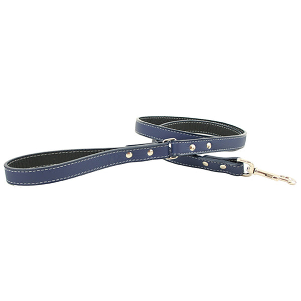 Italian Leather Dog Leash - Dark Blue