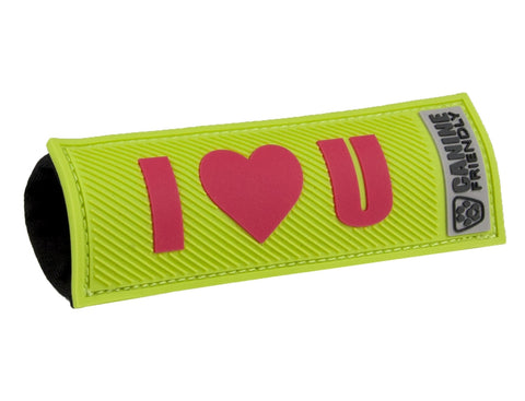 Bark Notes Slide-On Safety Badges for Dog Collars - I Heart U