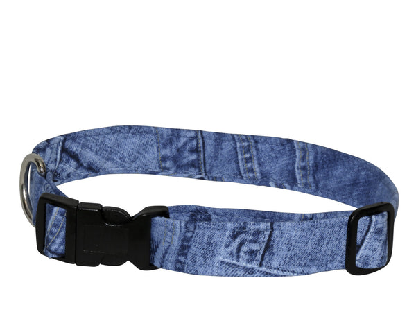 Elmo's Closet Blue Jeans Dog Collar