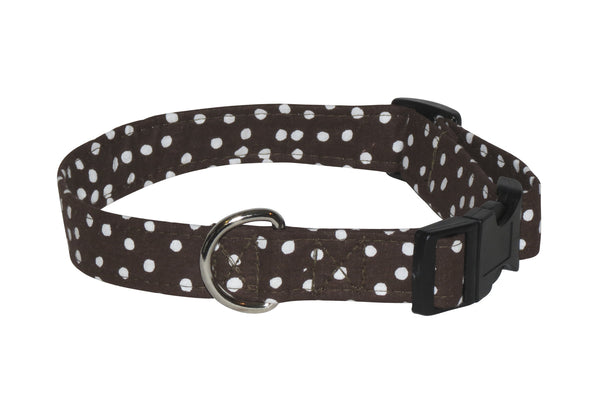 Elmo's Closet Brown Polka Dots Dog Collar