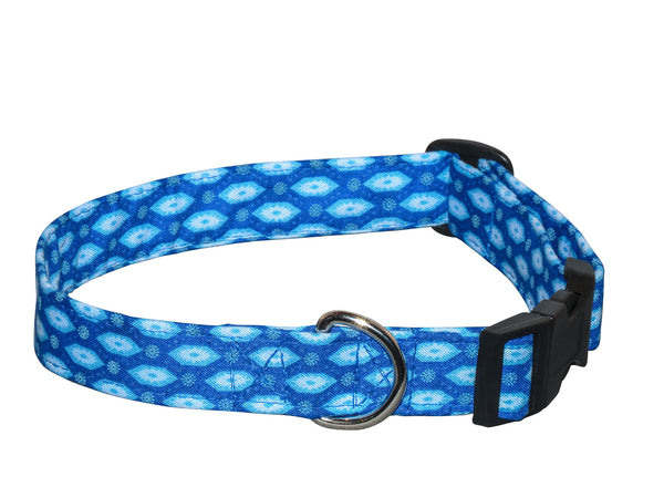 Elmo's Closet Blue Hex Dog Collar