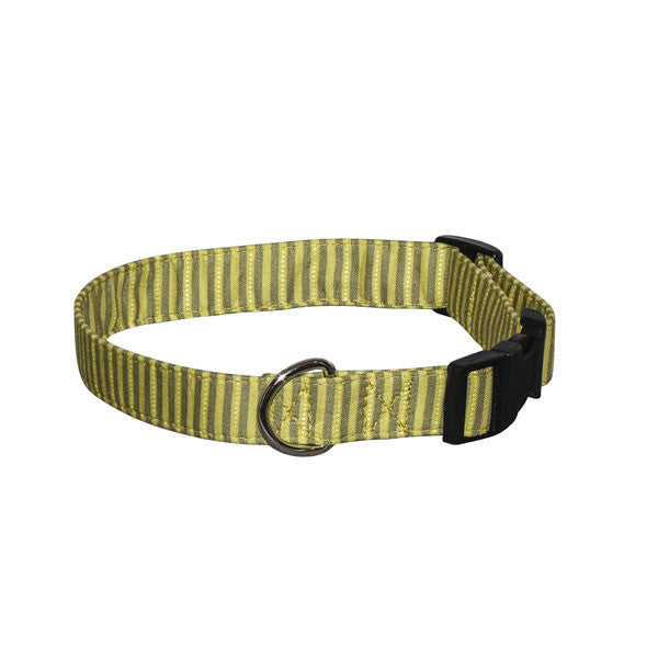 Elmo's Closet Moss Stripes Dog Collar