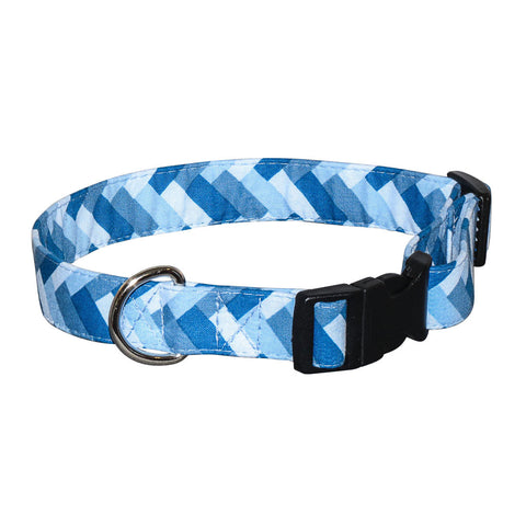 Elmo's Closet Blue Chevron Dog Collar