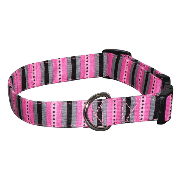 Elmo's Closet Pink & Gray Stripe Dog Collar
