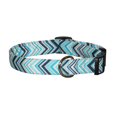 Elmo's Closet Blue Waves Dog Collar