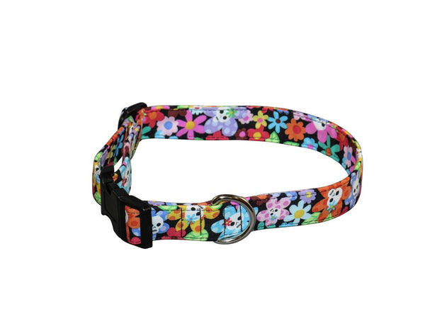 Elmo's Closet Flowers & Skulls Dog Collar