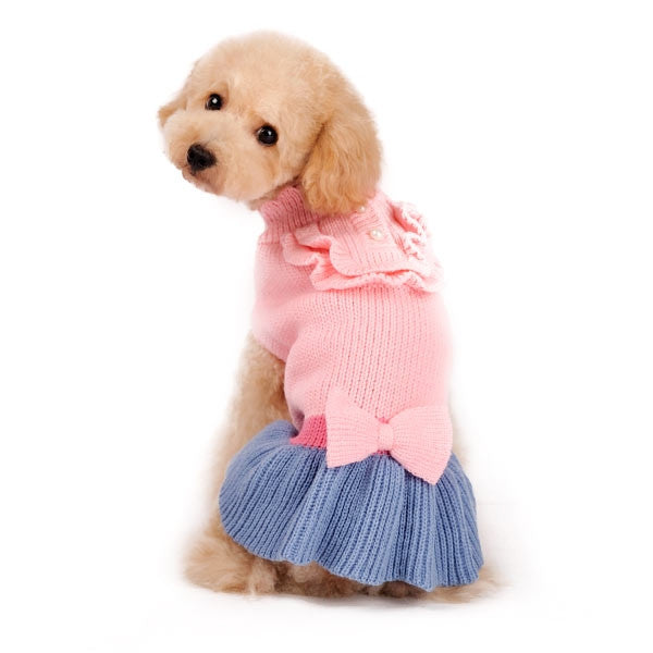 Elegant Lady Pink & Blue Dog Sweater