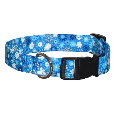 Elmo's Closet Cool Blue Blossoms Dog Collar
