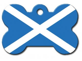 Scottish Flag Large Dog Tag - Bone