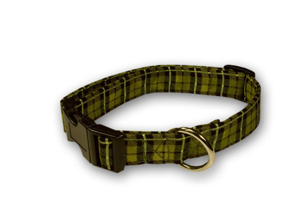 Elmo's Closet Green Plaid Dog Collar