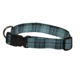 Elmo's Closet Teal & Black Tartan Dog Collar