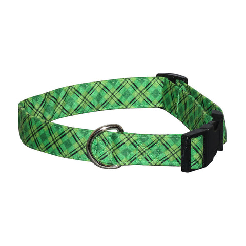 Elmo's Closet Kelly Plaid Dog Collar