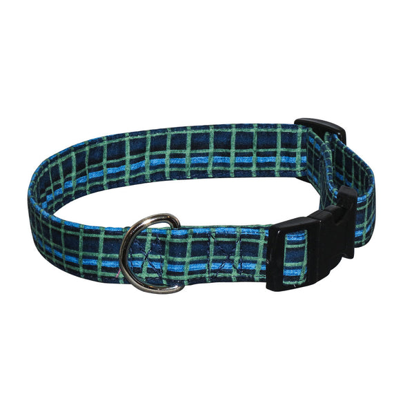 Elmo's Closet Blue & Green Plaid Dog Collar