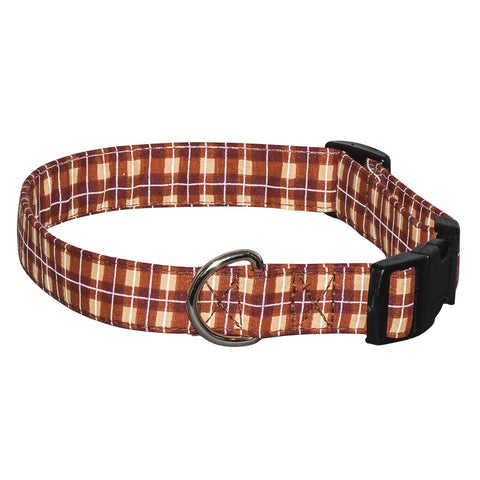 Elmo's Closet Brown Plaid Dog Collar