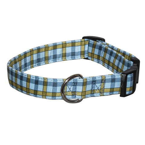 Elmo's Closet Teal & Olive Plaid Dog Collar