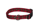 Elmo's Closet Red Plaid Dog Collar