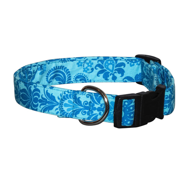 Elmo's Closet Teal Filigree Dog Collar