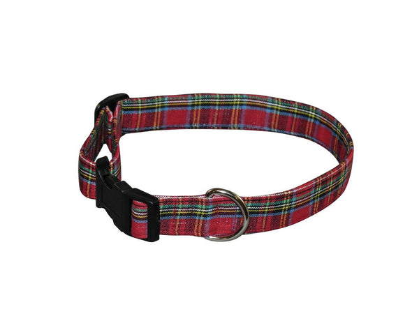 Elmo's Closet Red Tartan Dog Collar