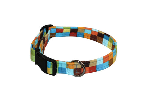 Elmo's Closet Big Bright Check Dog Collar