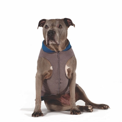 Duluth Double Fleece Pullover Dog Sweater - Charcoal/Marine Blue
