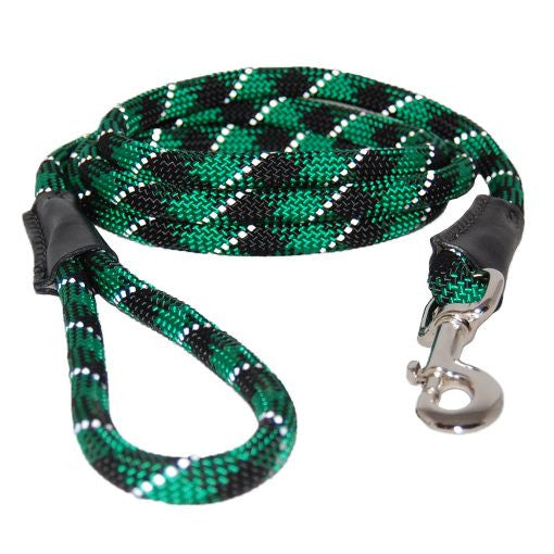 Reflective Rope Dog Leash - Green