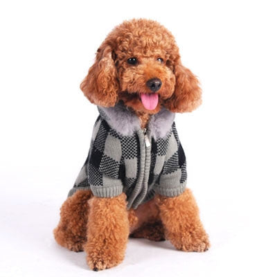 Lux Checker Dog Sweater Coat - Gray